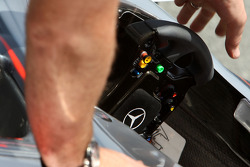 The steering wheel of Gary Paffett, Test Driver, McLaren Mercedes