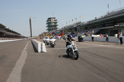 The Indianapolis Police Motorcycle Division enter race course during pre-race ceremonies