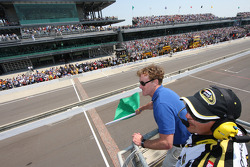 Honorary Starter, actor John McGinley of Scrubs, waives the green flag to start the Allstate 400 At The Brickyard