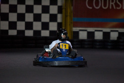 Drivers and media go-kart event: ex-race car driver and NAPA Auto Parts 200 spokesperson Bertrand Godin