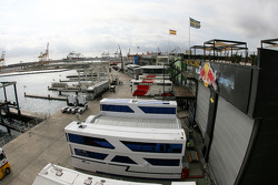 Valencia Circuit preparations, view of the paddock