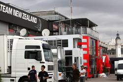 Valencia Circuit preparations, paddock view