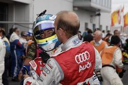 Alexandre Prémat and Mike Rockenfeller celebrate third place