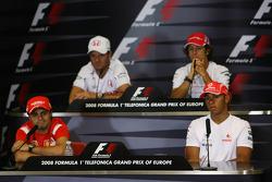 FIA press conference: Rubens Barrichello, Honda Racing F1 Team, Jarno Trulli, Toyota Racing, Felipe Massa, Scuderia Ferrari and Lewis Hamilton, McLaren Mercedes