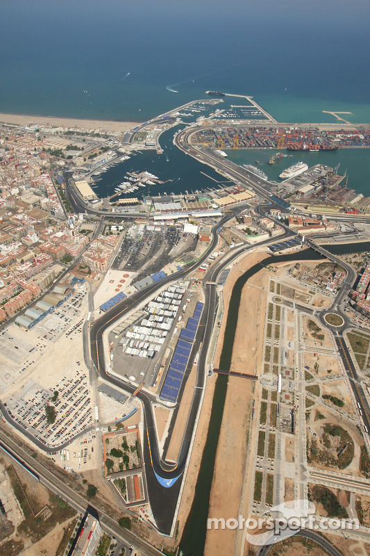Valencia Street Circuit Aerial View At European Gp