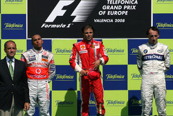 Podium: race winner Felipe Massa, second place Lewis Hamilton, and third place Robert Kubica