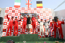 GT2 podium: class winners Andrew Kirkaldy and Rob Bell, second place Toni Vilander and Gianmaria Bruni, third place Emmanuel Collard and Richard Westbrook