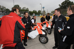 Romain Dumas shares a laugh with Helio Castroneves, Timo Bernhard and Emanuele Pirro
