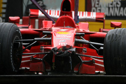 F1: The wrecked Ferrari of Kimi Raikkonen after his crash in the last lap