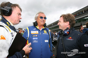 Alan Permaine, Renault F1 Team, Engineer with Flavio Briatore, Renault F1 Team, Team Chief, Managing Director and Christian Horner, Red Bull Racing, Sporting Director