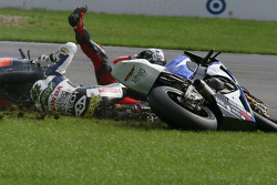 Roberto Rolfo's crash takes out Leon Haslam