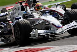 Nick Heidfeld, BMW Sauber F1 Team, F1.08 and Lewis Hamilton, McLaren Mercedes, MP4-23
