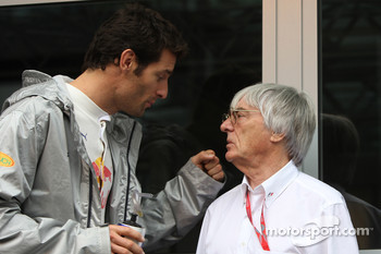 Mark Webber, Red Bull Racing and Bernie Ecclestone, President and CEO of Formula One Management