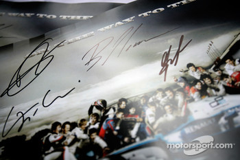 GP2 poster with Romain Grosjean, Giorgio Pantano, Bruno Senna and Lucas di Grassi signatures