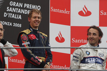 Podium: race winner Sebastian Vettel, third place Robert Kubica