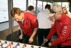 Ralf Jüttner and Rinaldo Capello play fussball at the Audi Sport Team Joest hospitality