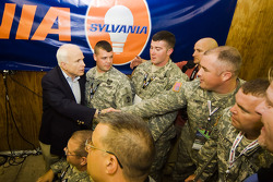 Republican Candidate John McCain makes a stop at the New Hampshire Motor Speedway