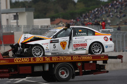 Car of Felix Porteiro, BMW Team Italy-Spain, BMW 320si after the start crash