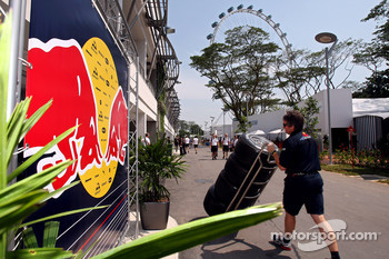 Neil Dickie in the paddock and the Singapore Flyer in the background