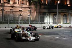 Jenson Button, Honda Racing F1 Team, RA108 leads David Coulthard, Red Bull Racing, RB4