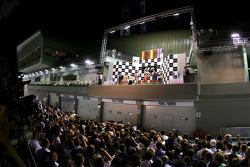 Podium: race winner Fernando Alonso, second place Nico Rosberg, third place Lewis Hamilton