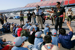 Juan Pablo Montoya talks with local Boy Scouts