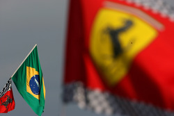 Brazil and Ferrari flags