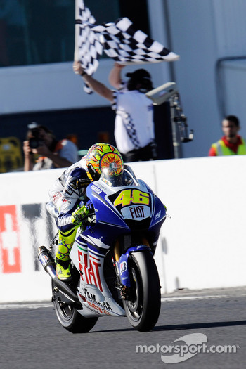 Valentino Rossi takes the checkered flag for the second place