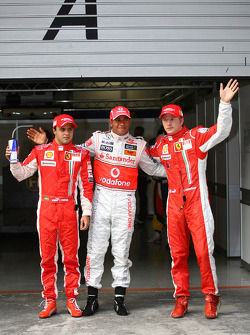 Pole winner Lewis Hamilton, second place Kimi Raikkonen, third place Felipe Massa