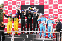 GT1 podium: class and overall winners Andrea Bertolini and Michael Bartels, second place Mike Hezemans and Fabrizio Gollin, third place Karl Wendlinger and Ryan Sharp