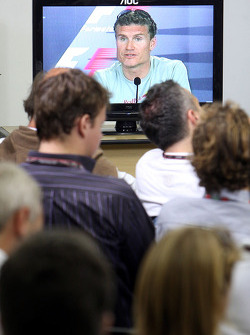 FIA press conference: David Coulthard on a monitor