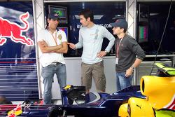 Stock Car driver Carlos Bueno, Mark Webber and Stock Car driver Daniel Serra