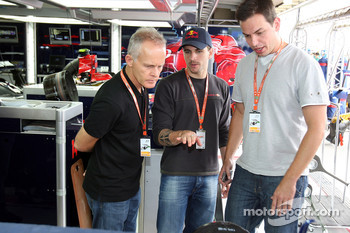 Stock Car driver Daniel Serra and guests in the Scuderia Toro Rosso garage