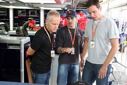 Stock Car driver Daniel Serra and guests in the Scuderia Toro Rosso garage