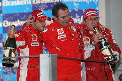 Podium: champagne for Felipe Massa, Kimi Raikkonen and Stefano Domenicali