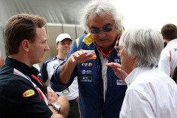 Christian Horner, team principal Flavio Briatore and Bernie Ecclestone