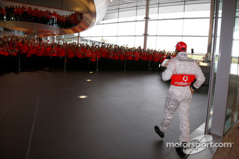 Lewis Hamilton arrives at the McLaren Technology Centre