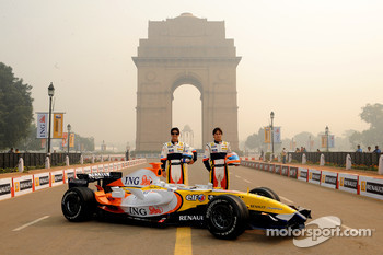 Nelson A. Piquet and Lucas Di Grassi pose during a photoshoot