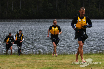Launceston, Australia: Team RBS run to the finish line