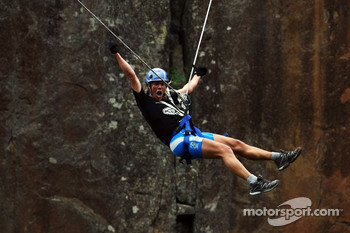 Launceston, Australia: Deanna Blegg of Team Keen screams as she takes the cliff jump