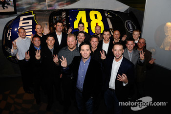 The No. 48 NASCAR Sprint Cup Series team celebrates its third consecutive title at the Sports Museum of America