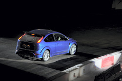 The World Driving debut for the Ford Focus RS: Marcus Gronholm drives the Superspecial Stage of the 2008 Wales Rally GB