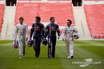 Jenson Button, Mark Webber, David Coulthard and Andy Priaulx at the Race of Champions media preview