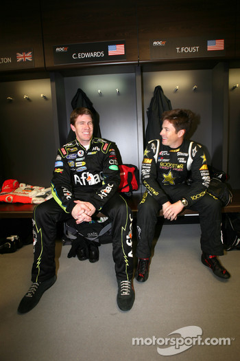 Carl Edwards and Tanner Faust in the drivers' briefing