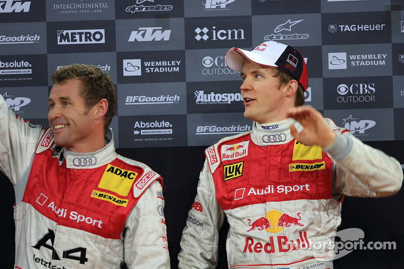 Podium: Nations Cup second place Mattias Ekström and Tom Kristensen (Team Scandinavia)