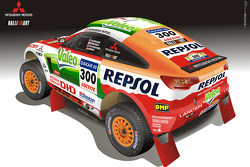 Repsol Mitsubishi Ralliart Team presentation in Morocco: rendering of the Mitsubishi Racing Lancer