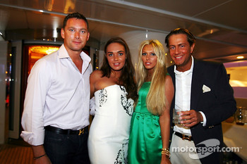 Tamara and Petra Ecclestone with their boyfriends at the Fly Kingfisher boat party on the Indian Empress