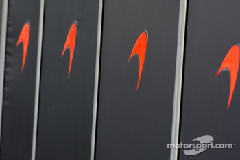McLaren Mercedes work behind the barriers