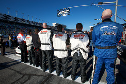 Eddie Sharp Racing crew members during National Anthem