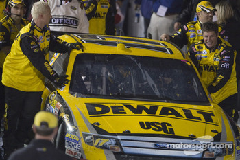The winning Roush Fenway Racing Ford of Matt Kenseth enters victory lane